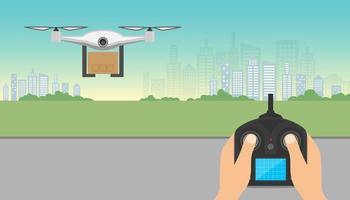 Drohnen-Lieferkonzept. Drohne trägt Pappkarton mit Fernbedienung, die über Stadt fliegt. Copter- oder Quadcopter-Service, Bestellung, weltweiter Versand. vektor
