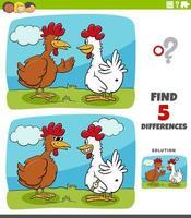 skillnader pedagogiskt spel för barn med två höns eller kycklingar vektor