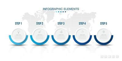 Infografiken Prozessvorlage mit Papierkreisen, Symbole für 5 Schritte. vektor