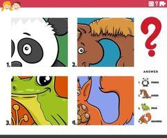 gissa tecknade djurkaraktärer pedagogiskt spel för barn vektor