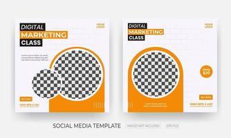 uppsättning av digitala marknadsföringsmall för sociala medier vektor