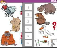 pedagogiskt spel med stora och små tecknade djur för barn vektor