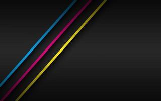 schwarzer moderner Materialhintergrund mit überlappenden Schichten und diagonalen Linien in cmyk Farben. Vorlage für Ihr Unternehmen. Vektor abstrakter Breitbildhintergrund