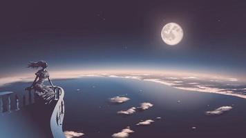 Vektorillustration der alten Göttin, die sich auf dem Balkon entspannt und vom Himmel zur modernen Zivilisation mit einem schönen Vollmond im Hintergrund herabblickt vektor