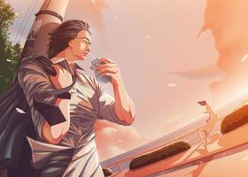 Vektorillustration im Anime-Stil des Büromanns, der sich am Hafen lässig entspannt und einen Blick auf die Dame stiehlt, die in der Nähe sitzt und isst vektor