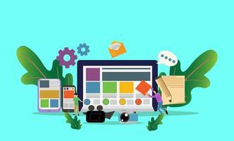 content management illustration för företag med små människor karaktär, målsida, mall vektor