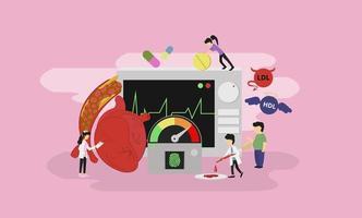 neueste moderne Werkzeuge Herzmedikamentlösung winzige Menschen Charakterkonzept, geeignet für Tapete, Banner, Hintergrund, Karte, Buchillustration und Web-Landingpage-Konzept vektor