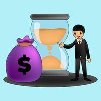 Erhöhung des Einkommensgehalts. Finanzleistung des Return on Investment Roi-Konzepts. flache Stilvektorillustration des Dollarsymbols vektor
