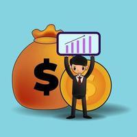 Erhöhung des Einkommensgehalts. Finanzleistung des Return on Investment Roi-Konzepts. vektor