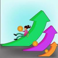 Finanzierung der Performance des Return on Investment Roi-Konzepts mit Pfeilen vektor