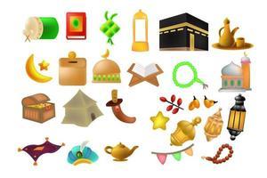 ramadan kareem söt ikonuppsättning bakgrundsillustration vektor