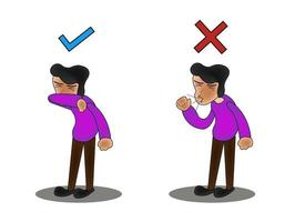 karaktär som nysar och hostar rätt och fel. medicinsk rekommendation hur man nysar ordentligt. förebyggande mot virus och infektion. hygienkoncept. vektor
