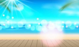 semester bakgrund. strand med palmer och blått hav vektor