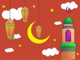 ramadan kareem söt bakgrundsillustration vektor