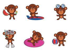 niedlicher Cartoon des Teddybären im Sommer, der verschiedene Aktivitäten wie Surfen, Tauchen, Schwimmen, Wassermelonenessen und mehr tut vektor