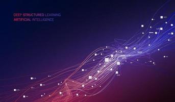 Quantencomputer, Deep Learning Künstliche Intelligenz, Visualisierung von Big-Data-Algorithmen für Signalkryptografie vektor