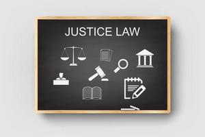 Justizrecht legales Geschäftsdesign auf Tafel mit Holzrahmen. vektor