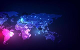 Geldüberweisung. globale Währung. Börse. Lager Vektor-Illustration.