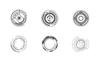uppsättning 6 futuristiska cirkel tech digital koncept ikon isolerad vektor