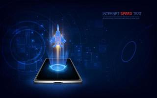 internet hastighet test smartphone gränssnitt vektor mall. mobil app sida blå design layout. wifi, mobil internet-skärm. platt användargränssnitt för applikation.