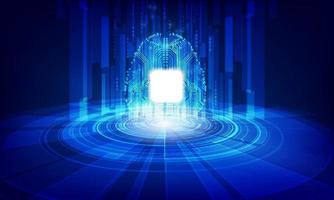 abstrakt teknologi chip processor bakgrund kretskort och kod, illustration blå teknik bakgrund