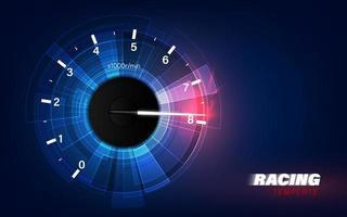 Geschwindigkeitsbewegungshintergrund mit schnellem Tachometer. Hintergrund der Renngeschwindigkeit. vektor