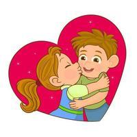 par kyssar och omfamnar vektor