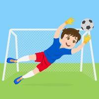 Junge Torhüter springt, um das Tor zu retten vektor