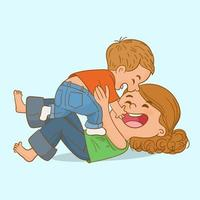 Mutter spielt mit ihrem Baby im Schlafzimmer vektor