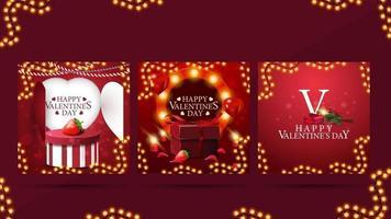 Satz Valentinsgrußkarten mit Valentinselementen, hellem warmem Schablonenrahmen und Geschenken vektor