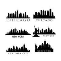 Satz von uns Stadt Skylines auf weißem Hintergrund vektor