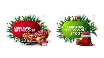 julrabattkupong, röda och gröna rabattbannrar i tecknad stil dekorerad med julelement, jultomten och jultomten vektor