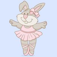 söt dansande kanin ballerina vektor