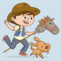 Junge, der ein Pferdestabenspielzeug reitet vektor