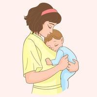 Mutter mit ihrem Baby vektor