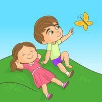 Kleinkinder liegen im Gras und spielen und haben Spaß vektor