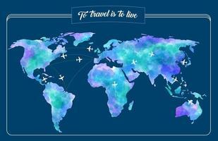 världskarta för resor vektor