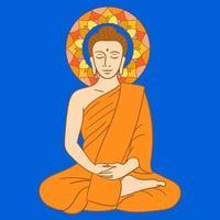 buddha sitter i meditation vektor