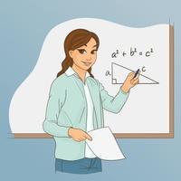 Lehrerin fragt ihre Schüler vektor