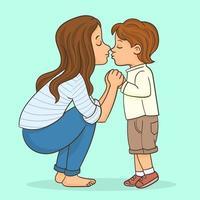 glücklich liebende junge Mutter küsst ihren kleinen Sohn auf dem Weg