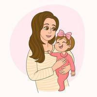 glad mamma tittar på söt dotter vektor