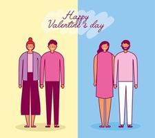 alla hjärtans dag firande med älskare grupp vektor