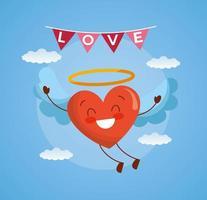 glad Alla hjärtans dag-kort med kawaii hjärta karaktär vektor