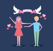 Valentinstagfeier mit Liebenden und Tauben vektor