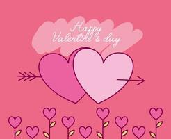Valentinstagfeier mit Herzen und Pfeil