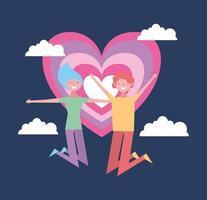 Alla hjärtans dag firande med älskare och hjärta vektor
