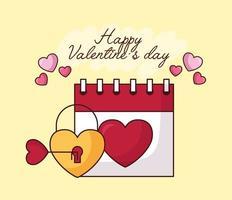 Alla hjärtans dag firande med hjärta hänglås och kalender vektor