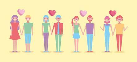 uppsättning alla hjärtans dag firande älskare vektor