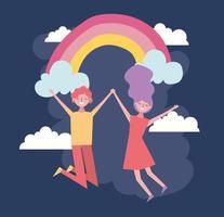 Valentinstagfeier mit Liebhabern und Regenbogen vektor