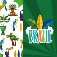 brasilianische Karnevalsfeier mit Federhut und Schriftzug vektor